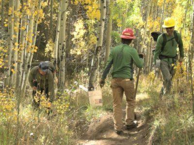 An autumn Gunni Trails workday on USFS lands.